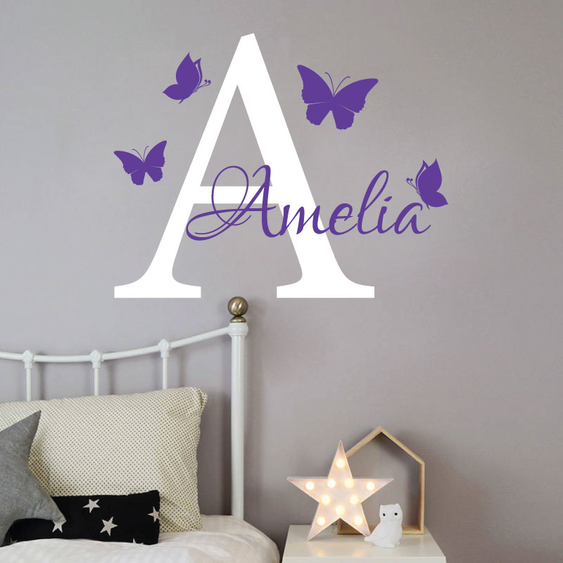 Personalised Baby Girl / Boy Name With Initial Letter And Butterflies   2  Colours