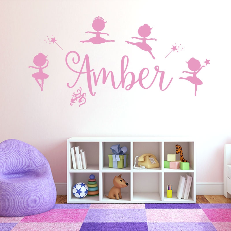 Personalised Name Girls Wall Art Sticker   Disney Baby Ballerina Little  Princess, Ballet Shoes, Part 75