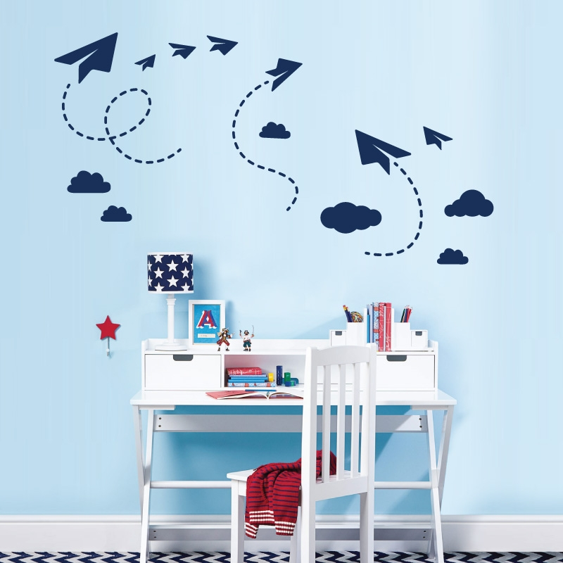 Sky, Paper Planes And Clouds   Wall Art Sticker Set Part 64