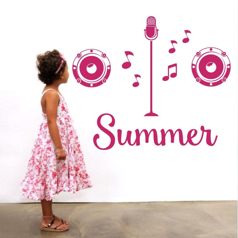 Personalised name girls wall art sticker popstar x factor singer karaoke microphone music