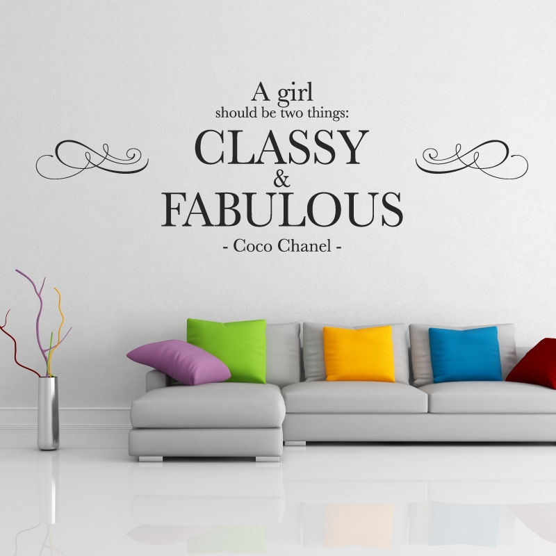 A girl should be two things classy fabulous coco chanel wall quote