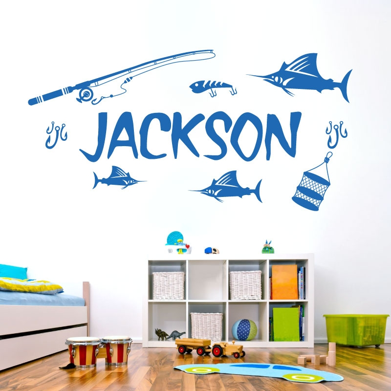 Personalised name boys wall art sticker sport fishing lake tackle