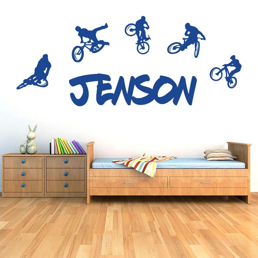 Personalised name boys girls wall art sticker bmx extreme mountain bikes