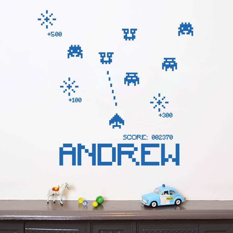 Personalised name boys girls wall art sticker space invaders vintage old computer games