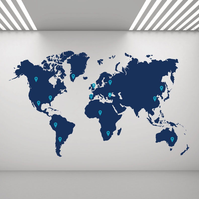 Details about Large World Map with Pins - Office Wall Art Sticker