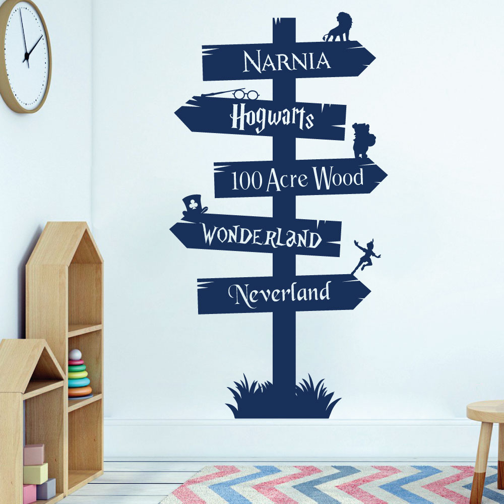 Storybook Signpost wall sticker Harry Potter Narnia bedrom kids decal art design