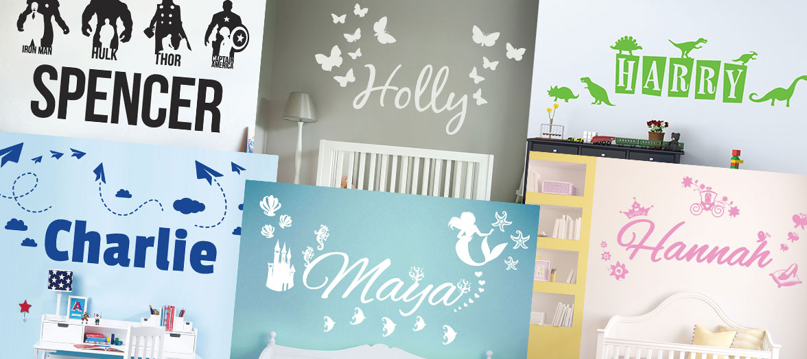 Personalised Name Wall Stickers, Choose Name, Font, Colour & Design
